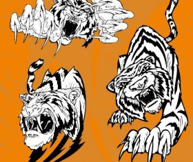 Set of Tiger vector picture art 11