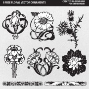 Link toFlower ornaments of borders and pattern vector