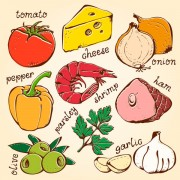 Link toSet of various food elements vector 01