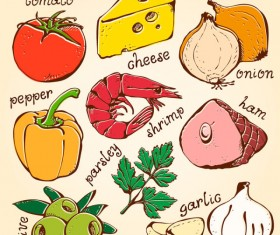Set of Various food elements vector 01