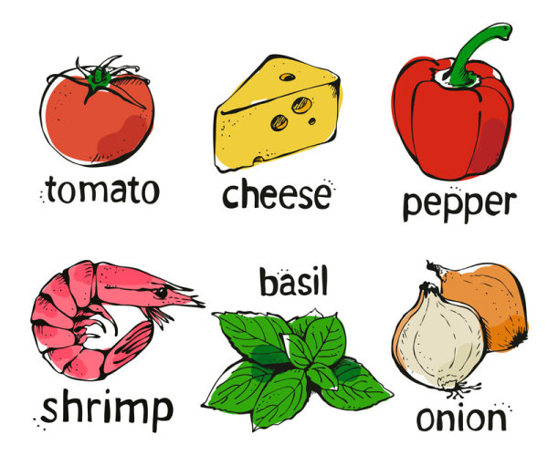 Set of Various food elements vector 02