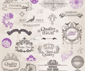 Elements of ornate Pattern and Borders vector 01
