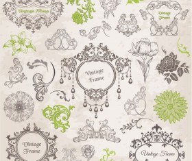 Elements of ornate Pattern and Borders vector 02