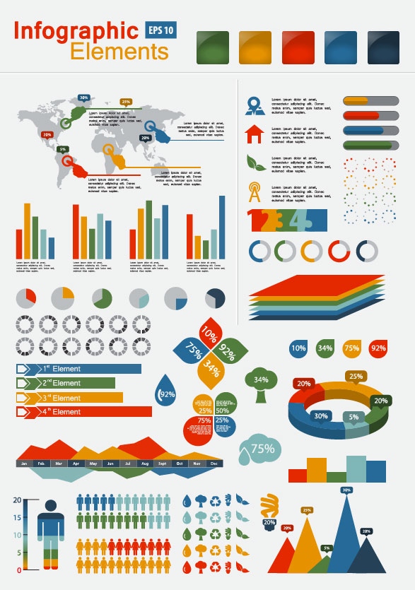 set of infographics and chart elements vector 01 free download