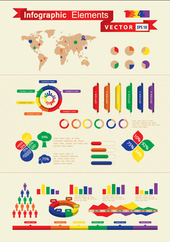 Set of Infographics and chart elements vector 02