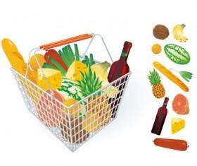 Supermarket Shopping elements vector 04