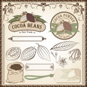 Link toCocoa beans elements of labels and pattern ,borders vector