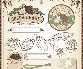 Cocoa beans elements of labels and Pattern ,Borders vector