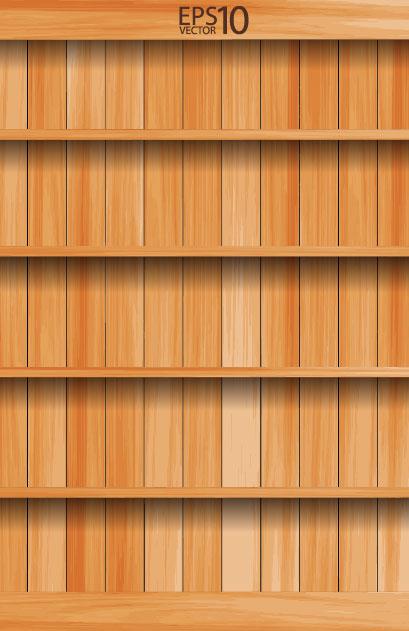 wooden Bookshelf background vector 03