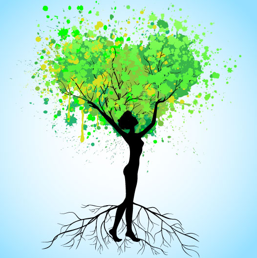 Set of Tree People Silhouettes vector 02