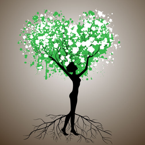 Set of Tree People Silhouettes vector 05