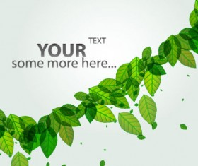 Green leave flyer and cover brochure background vector 01