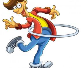 Funny of cartoon boy vector 03
