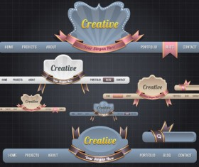 luxury of Vintage Website Navigation vector 03