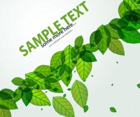 Green leave flyer and cover brochure background vector 02
