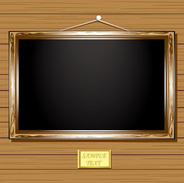 Set Of Vintage Wooden Photo Frame Vector 03 Vector