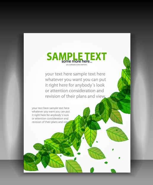 Green leave flyer and cover brochure background vector 04