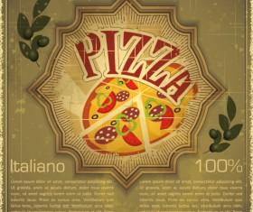 Set of Food vintage card grunge background vector 04