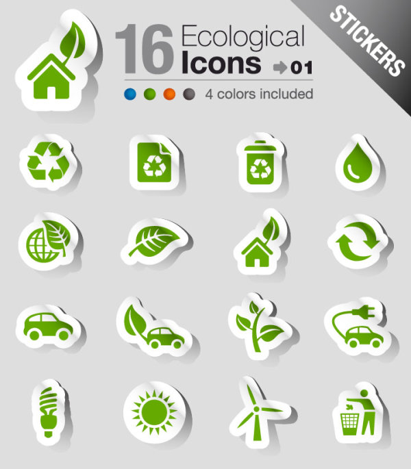 Set of eps Icon stickers elements 01