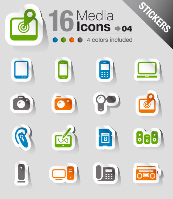 Set of eps Icon stickers elements 02