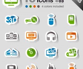 Set of eps Icon stickers elements 04