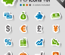 Set of eps Icon stickers elements 05
