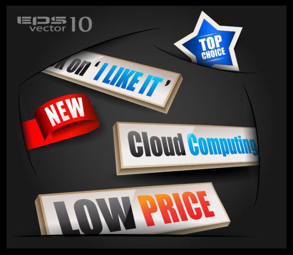 Business label elements vector set 02