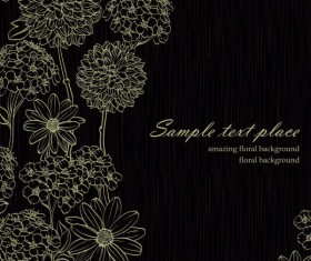 Amazing Flower Drawing background vector 01