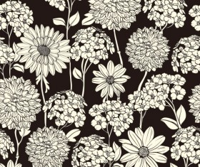 Amazing Flower Drawing background vector 02