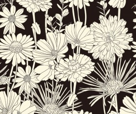 Amazing Flower Drawing background vector 03