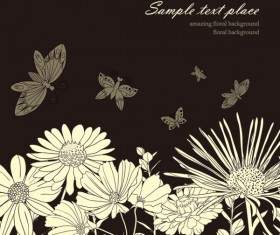 Amazing Flower Drawing background vector 04