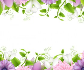 Vivid with Flowers Borders vector 01