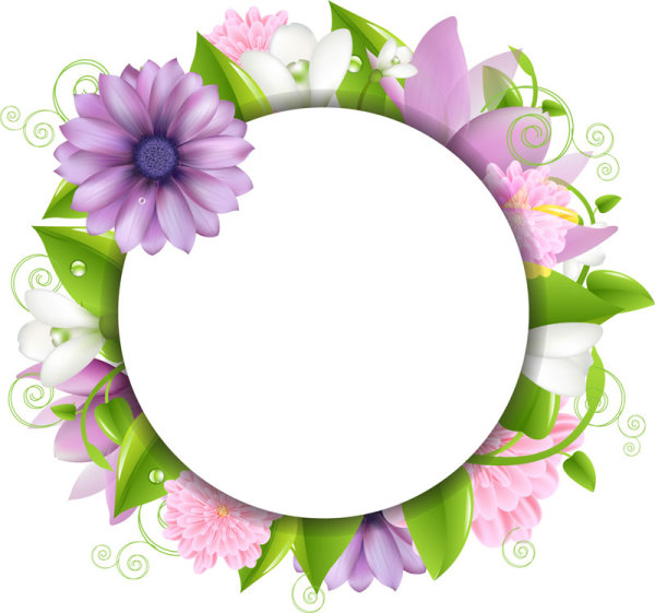 Vivid with Flowers Borders vector 02