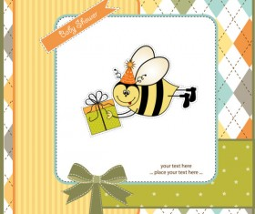 Cartoon small Animal elements baby card vector 01