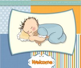 Cartoon small Animal elements baby card vector 02