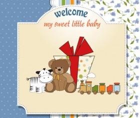 Cartoon small Animal elements baby card vector 03