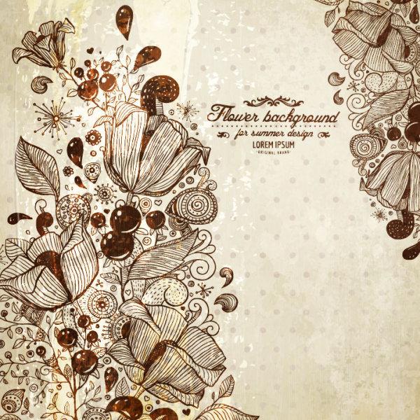 Vintage Flower of background vector 01