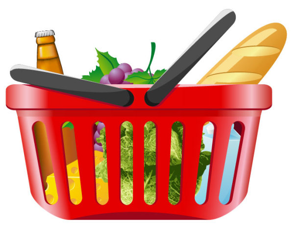 Vector Clipart Shopping Basket : Supermarket ping elements vector life free