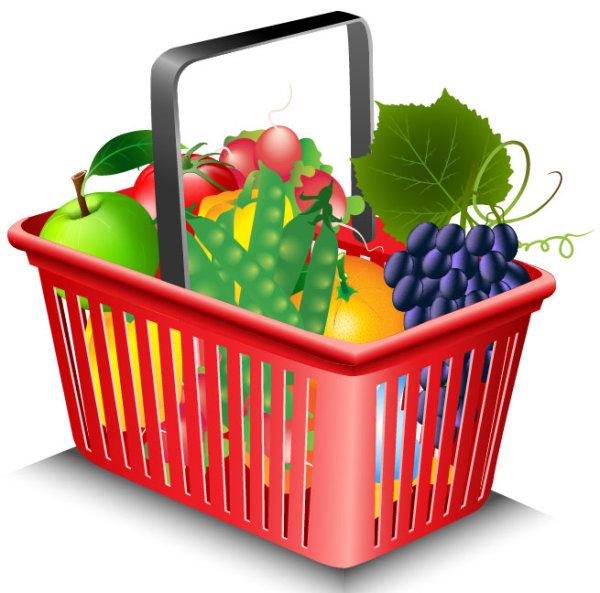 Supermarket Shopping elements vector 02