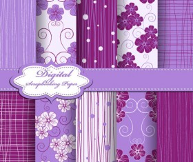 Set of Floral Fabric background vector 01