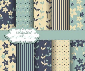 Set of Floral Fabric background vector 02