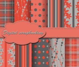 Set of Floral Fabric background vector 03