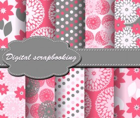 Set of Floral Fabric background vector 04