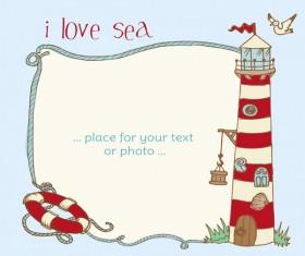 I love sea Theme elements background vector 01