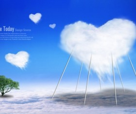 Love cloud elements PSD template