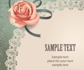 Vintage Romantic Rose background vector 01