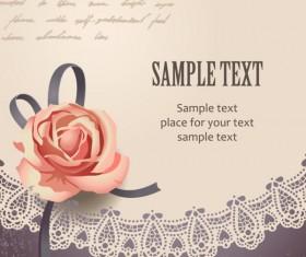 Vintage Romantic Rose background vector 02