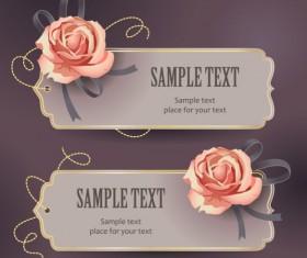 Vintage Romantic Rose label vector 03