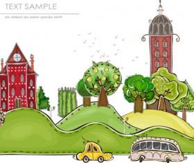 Elements of Cartoon city building vector 01