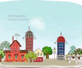 Elements of Cartoon city building vector 02